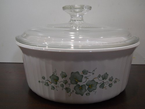 (Corning Ware French White Callaway Ivy Design Round Casserole F-5-B 1.6 Liter with Glass Lid)