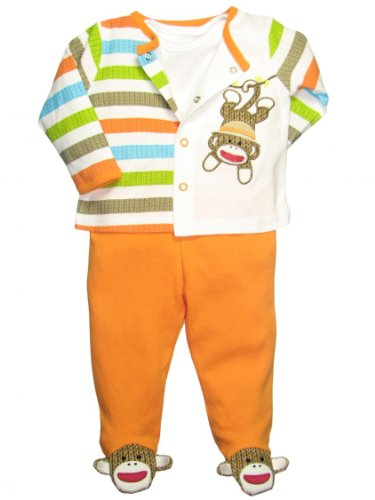 Baby Starters Baby Boy 3 Piece Striped Sock Monkey Footed Pants Outfit Orange - 6 Mths / 12-16 Lbs