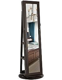 Jewelry Cabinet Armoire 360° Rotatable Higher Mirror, Lockable Jewelry Organizer UJJC62BR