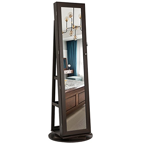 SONGMICS 360° Rotatable Jewelry Organizer Cabinet Armoire, Lockable, Higher Mirror, Brown UJJC62BR (Mirror Stand Case Jewelry)