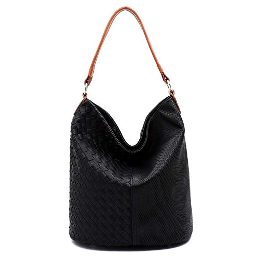 Black Bag Woven Hobo Leather - Vegan Faux Leather Woven and Perforated Shoulder Hobo Bags With Crossbody Strap (Black/Brown)