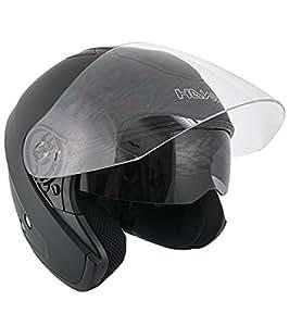 Hawk Flat Black Dual Visor Open Face Motorcycle Helmet - X-Large