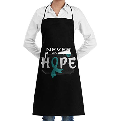 ZGNF3GY Ovarian Cancer Awareness Cooking Kitchen Apron with Pockets for Kitchen Bib Gardening Cooking Etc for Women and -