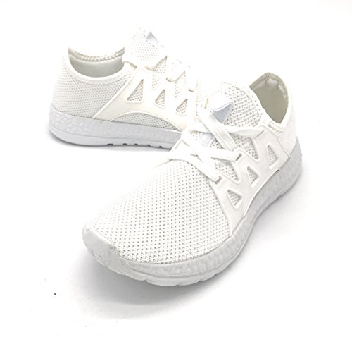 EASY21 Lady Breathable Fashion Slip-On Athletic Sports Shoes,White06, 8.5
