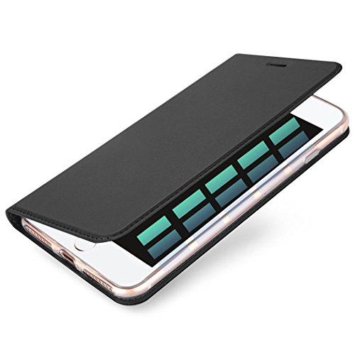 iPhone 6/6S 7 7Plus Hülle Handyhülle Flip Schalen Case Cover Schutzhüllen aus Klappetui mit Kreditkartenhaltern Ständer Taschen Magnetverschluss Schwarz (iPhone 6/6S Plus)