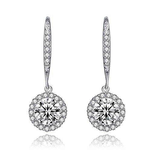(LUX AND GLAM Round Cubic Zirconia and Sterling Silver Leverback Drop Earrings - Halo Collection)