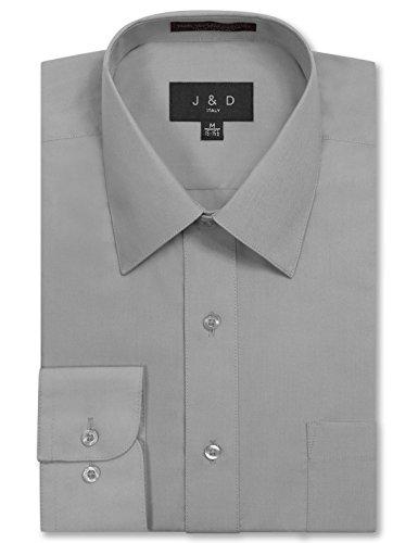 JD Apparel Men's Long Sleeve Regular Fit Solid Dress Shirt 17-17.5 N : 34-35 S Light Grey