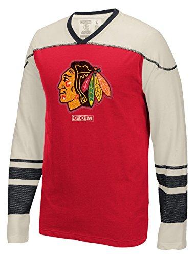 CCM Chicago Blackhawks Vintage Red Long Sleeve Applique T Shirt - Hockey T-shirts Ccm