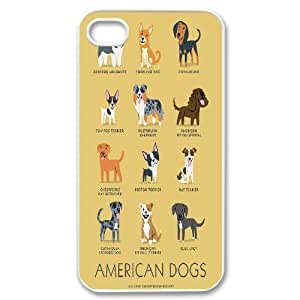Dogs of the World Illustration Series For Apple Iphone 4/4S Case Cover , [White]