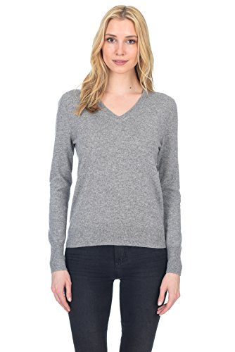 State Fusio Womens Cashmere Wool Long Sleeve Pullover V Neck Soft and Classic Fashion Sweater, Heather Grey, Large Classic Long Sleeve Pullover
