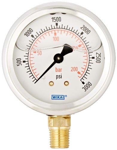 Gauge Wika - WIKA 9692105 Industrial Pressure Gauge, Liquid/Refillable, Copper Alloy Wetted Parts, 2-1/2