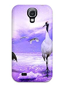 1191074K65995620 New Fashionable Cover Case Specially Made For Galaxy S4(red Crowned Cranes Japan)