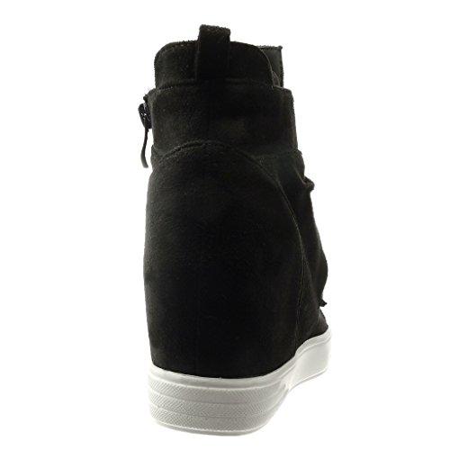 Angkorly - Chaussure Mode Basket Compensée montante Couverte femme noeud papillon Talon compensé plateforme 7 CM - Noir