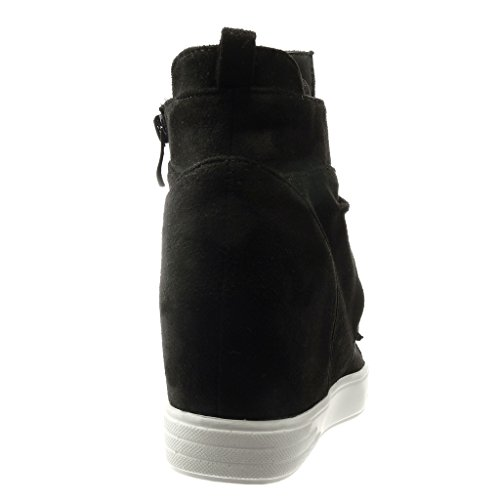 Angkorly - Zapatillas de Moda Deportivos Plataforma altas classic mujer pajarita Talón Plataforma 7 CM - Negro
