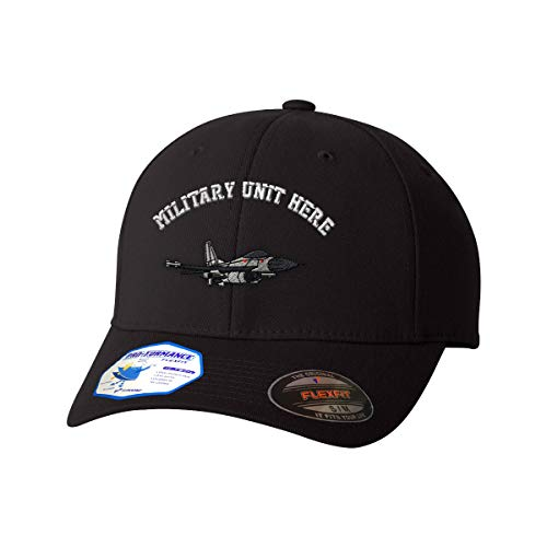 (Custom Flexfit Baseball Cap F-16 Fighting Falcon Embroidery Unit Polyester Hat Elastic - Black, Small/Medium Personalized Text Here )
