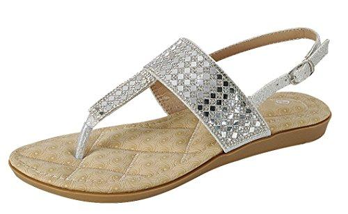 Cambridge Selezionare Donna T-strap Perizoma In Cristallo Strass Glitter Slingback Sandalo Flat Argento