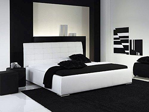 Polsterbett Bett Clark weiß Kunstleder Ehebett Bett Doppelbett Bettgestell Kunstleder , Größe:180 x 200