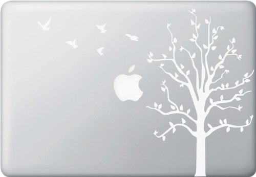 Apple Tree with Birds - Macbook or Laptop Decal (White) best laptop stickers for professionals