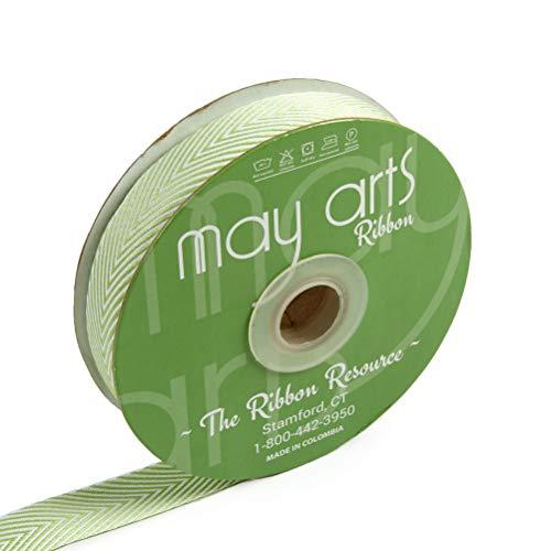 Ivory Stripes May Arts - May Arts 3/4'' Twill Chevron Stripes Ribbon Parrot Green/Ivory (30 yard Spool) PARROT GREEN/IVORY