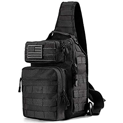 Prospo Tactical Molle Sling Backpack, Outdoor Military Small Rover Chest Shoulder Pack Women Men Development Range Bag EDC One Strap Daypack Hiking Camping Trekking