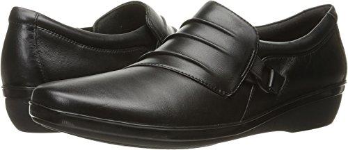 CLARKS Women's Everlay Heidi Slip-On Loafer, Black Leather, 8.5 M US