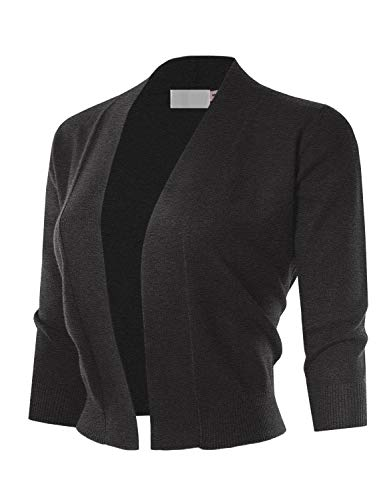 Cropped 3/4 Sleeve - MAYSIX APPAREL 3/4 Sleeve Solid Open Bolero Cropped Cardigan for Women CHARCOALGRAY 1XL