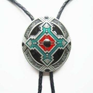 WESTERN Leather String Bolo Tie Celtic Keltic Cross Knot 059