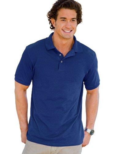 Hanes 055X Unisex ComfortSoft Pique Knit Sport Shirt Deep Royal - Down Sleeveless Button Jersey