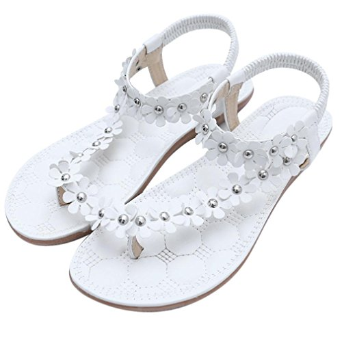 Women Summer Beach Sandals,Todaies Women's Fashion Sweet Summer Bohemia Sweet Beaded Sandals Clip Toe Sandals 2018 (US 7, White)