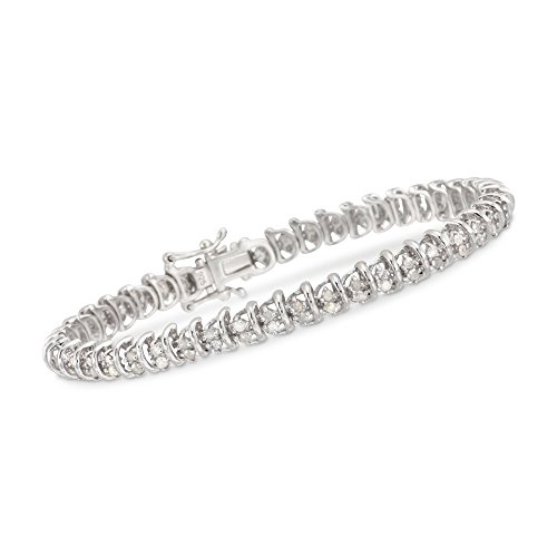 Ross-Simons 2.00 ct. t.w. Diamond Bar Tennis Bracelet in Sterling Silver