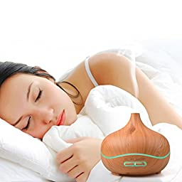QMSSIC 300ml Mist Humidifier Wood Grain Ultrasonic Aroma Essential Oil Diffuser for Office Home Bedroom Living Room Yoga Spa Relaxing (wood grain new)