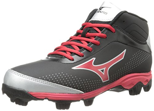 Mizuno Men's 9-Spike Franchise 7 Mid Baseball Cleat,Black/Red,8 M (All Red Baseball Cleats)