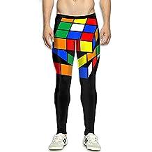 Mens Rubik's Cube Compression Pants Sport Tight Leggings Elastic Waist Baselayer Yoga Sports Trousers