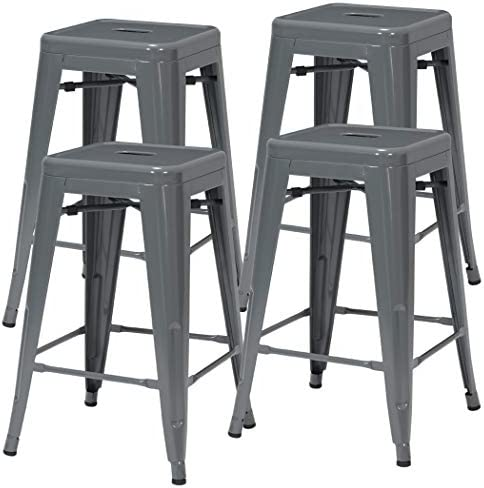 Duhome 24 Inches Metal Stools Counter Height Backless Stackable Stools for Bistro, Indoor-Outdoor, Kitchen, Bistro, Patio, Cafe and Restaurants Set of 4, Grey