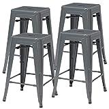 "Duhome Industrial Design Metal Iron Stool 24"" Set of 4 Stackable Metal Chair (Grey 24"")"