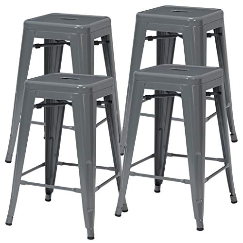 Duhome Industrial Design Metal Iron Stool 24 Set of 4 Stackable Metal Chair Grey 24
