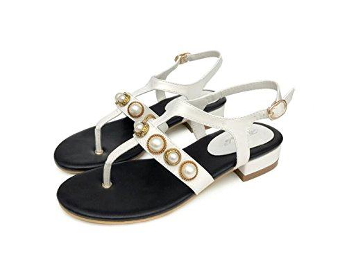 Sandalias Low de Blanco caseros Libre Mujer Zapatos Hebilla DANDANJIE de Clip Toe al de Hollow Zapatos Pearl y Flat Moda Sandalias Verano Aire Heels Primavera de 4qqZWPXBS