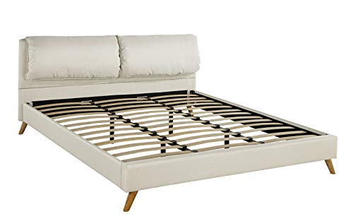 Upholstered Platform Bed Frame with Plush Headboard Queen, Beige