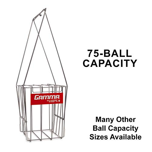 GAMMA Tennis Ball Hopper Hi-Rise 75, Silver Tennis Ball Holder with 75 Ball Capacity, Fingertip Height Basket, Lid For Spill Prevention, Tennis Accessories, Carriers and Ball Pick-ups (Renewed)