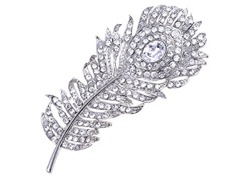Alilang Silvery Tone Clear Crystal Colored Rhinestones Peacock Feather Brooch Pin