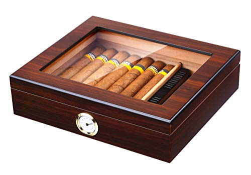 Handmade Cigar Humidor, Cedar Cigar Desktop Box with Humidifier and Hygrometer, Glass Top for 25 Cigars (20-25 ()