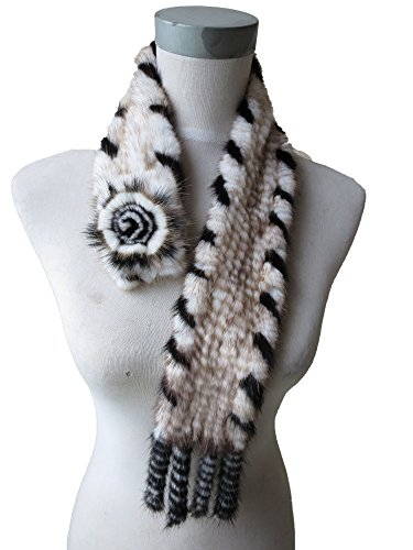 Real Mink Fur Knitted Neckerchief/Scarf for Women (white with black lace)