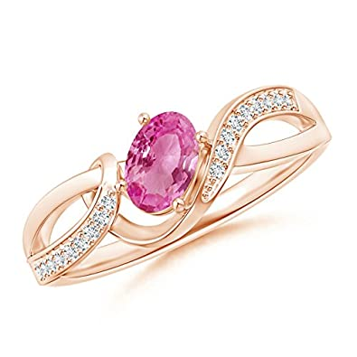 Angara Solitaire Heart Pink Sapphire Diamond Ribbon Shank Ring in White Gold 3m3l9YV