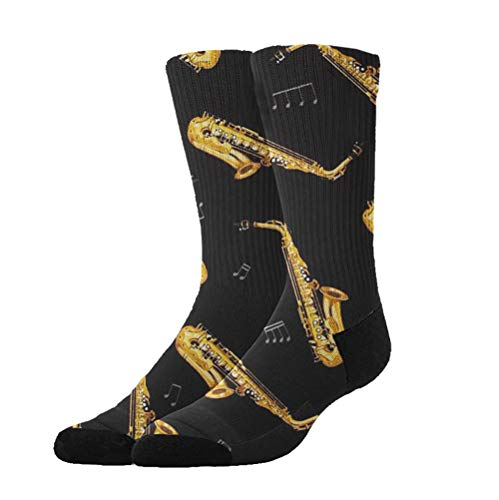 - GLORY ART Dress Socks Saxophone Music Soft Colorful Fun Pattern Crew Socks Gift X-mas,Holiday, Year