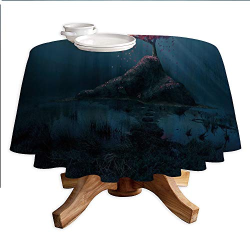 Dark Blue Round Polyester Tablecloth,Lonely Pink Sakura Tree in Mysterious Forest Sunbeams Marsh Rock,Dining Room Kitchen Round Table Cover,36