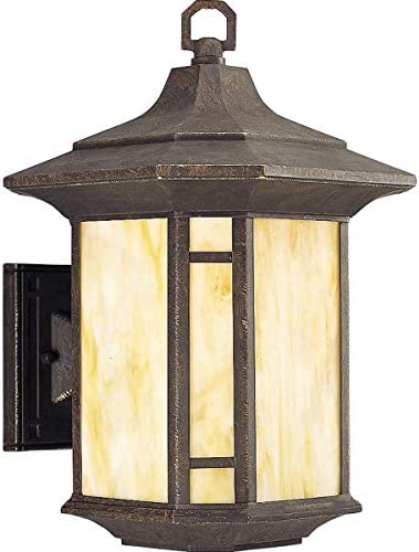 Progress Lighting P5629-46 Transitional One Light Wall Lantern from Arts and Crafts Collection Dark Finish, Weathered Bronze