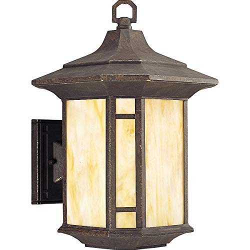 Progress Lighting P5629-46 Arts and Crafts Collection 1-Light Wall Lantern, Weathered Bronze