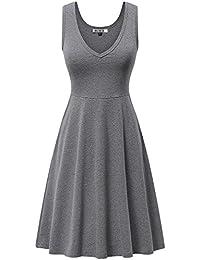 Womens Sleeveless V Neck Dress with Pocket Summer Beach...