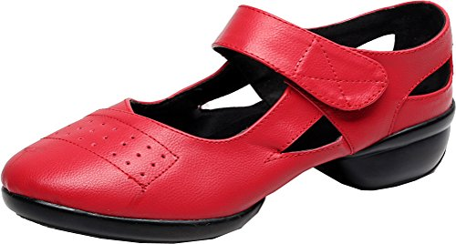Abby 1002 Womens Mary Jane Jazz Practice Dance Shoes Closed Toe Flat Split Sole PU Sneakers Red MYsRS