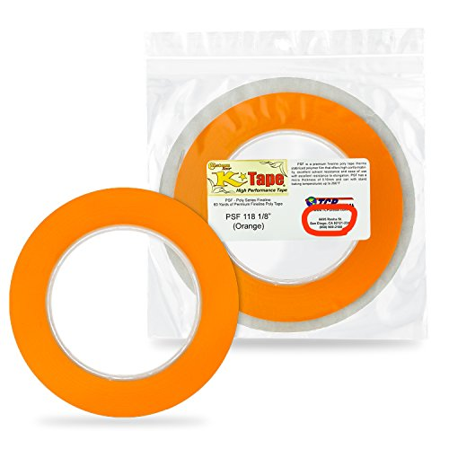Custom Shop 1/8 Fine Line Tape Fineline Masking Tape Polytape Orange 1/8 X 60 Yard Roll
